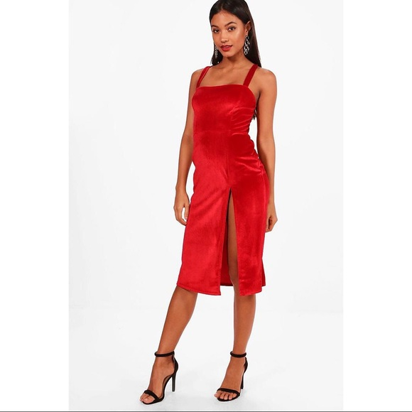 6a0d5dc0e0ec BOOHOO Red Velvet Side Slit Bodycon Dress